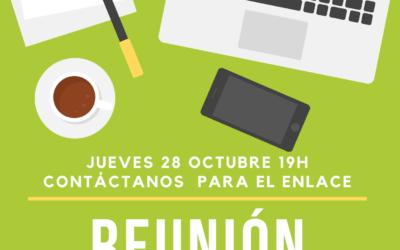 Reunión grupo de trabajo general – 28 de octubre – 19h – online